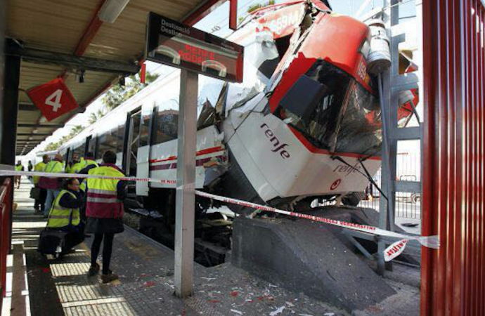 accidente de tren en estación de Madrid